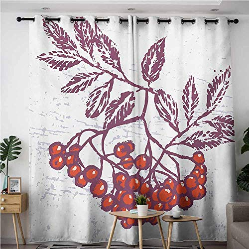 AndyTours Curtains for Living Room,Rowan,Artistic Berry Bunch Hand Drawn Seasonal Fruit Natural Organic Food Theme,Grommet Curtains for Bedroom,W84x84L,Purple Orange White