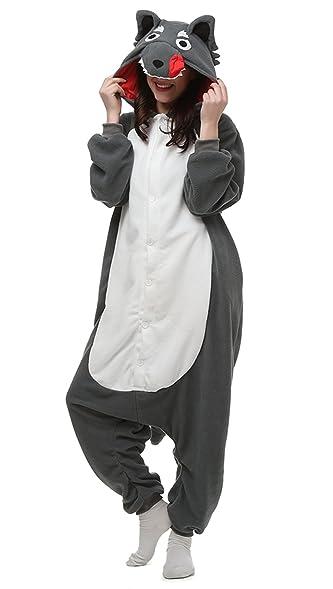 Unisex adult Grey Wolf Kigurumi Onesie Pajamas Cosplay Costume QQ018