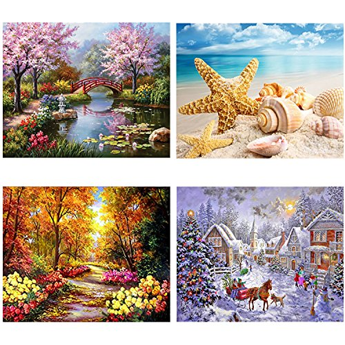 Aneco 4 Pack DIY 5D Diamond Painting Kit Full Diamond Painting Four Seasons Landscape Rhinestone Embroidery Painting for Home Wall Decoration