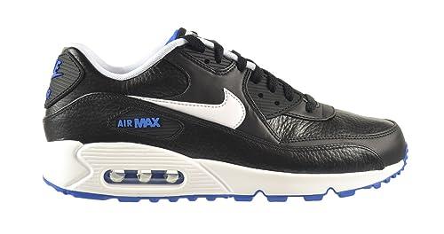 0d9856ba8bd4 Nike Air Max 90 Leather Men s Shoes Black White-Hyper Cobalt 652980 ...