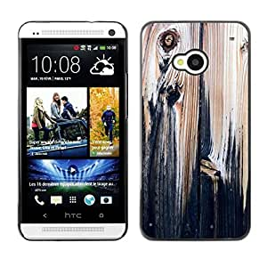 Be Good Phone Accessory // Dura Cáscara cubierta Protectora Caso Carcasa Funda de Protección para HTC One M7 // Wood Texture Black Paint Rustic Vintage