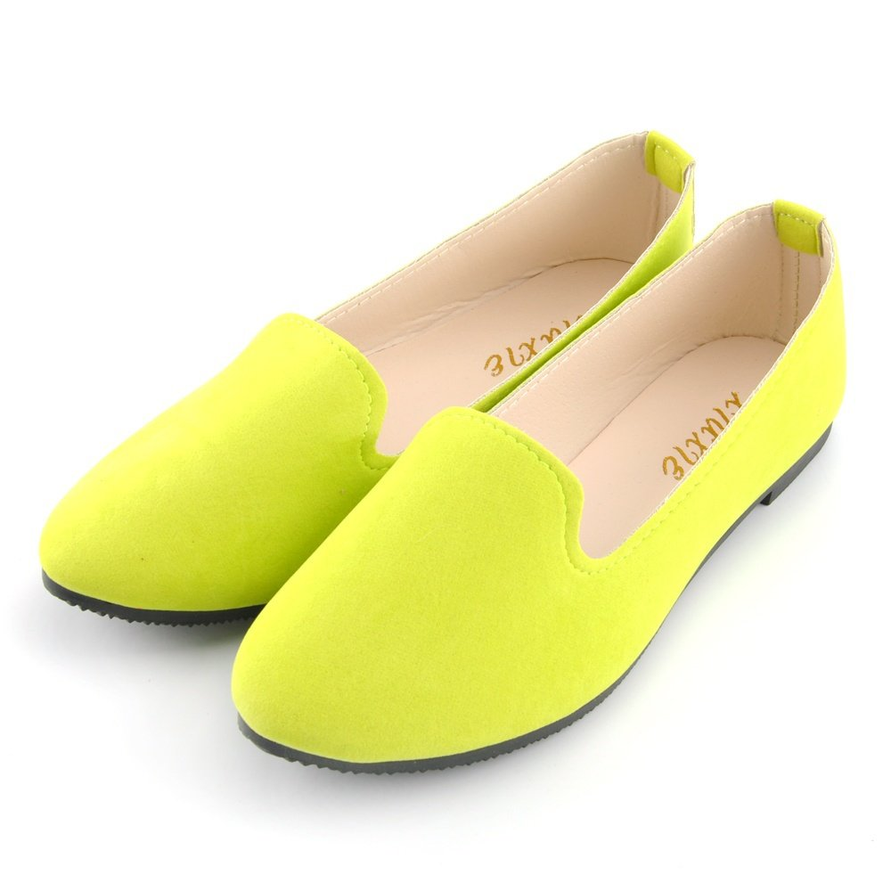 JOY DRAGON Women Ballet Light Faux Suede Low Heels Flats Candy Color Spring Summer Loafers Shoes Size 5-8 B07BHJDHWG 7 B(M) US|Yellow