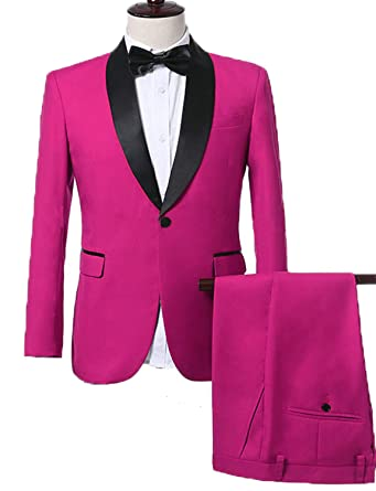 5d9a393f1194 Wedding Suits for Men Slim Fit Fuchsia Tux Suits for Teens Blazer for Prom  Party Sale