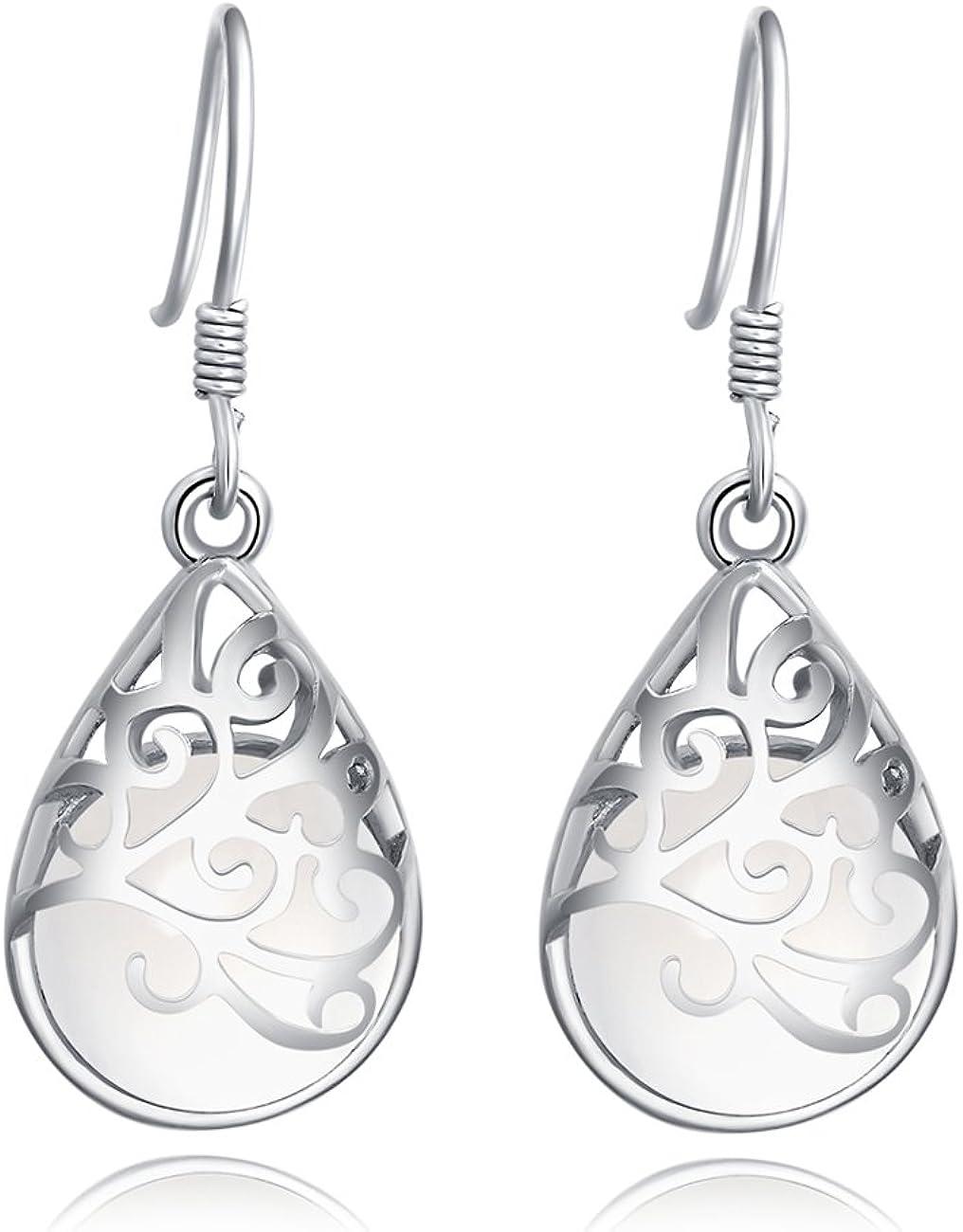 925 Sterling Silver Polished Filigree Teardrop Dangle Earrings