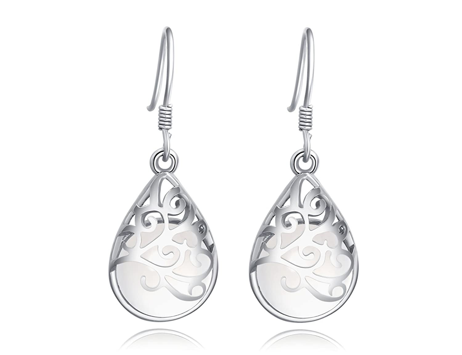 """Wishing Tree""925 Sterling Silver Teardrop Filigree Dangle Earrings for Women"