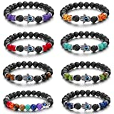 Jstyle 8Pcs Chakra Bracelet for Women Men Lava Bead Bracelet Adjustable Natural Stone Beads Yoga Bracelet Set