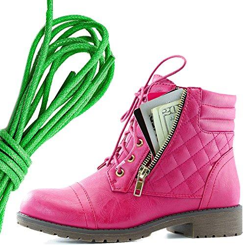 Dailyshoes Kvinners Militære Snøring Spenne Combat Boots Ankelen Høyt Eksklusivt Kredittkort Lomme, Grønn Varm Rosa Pu