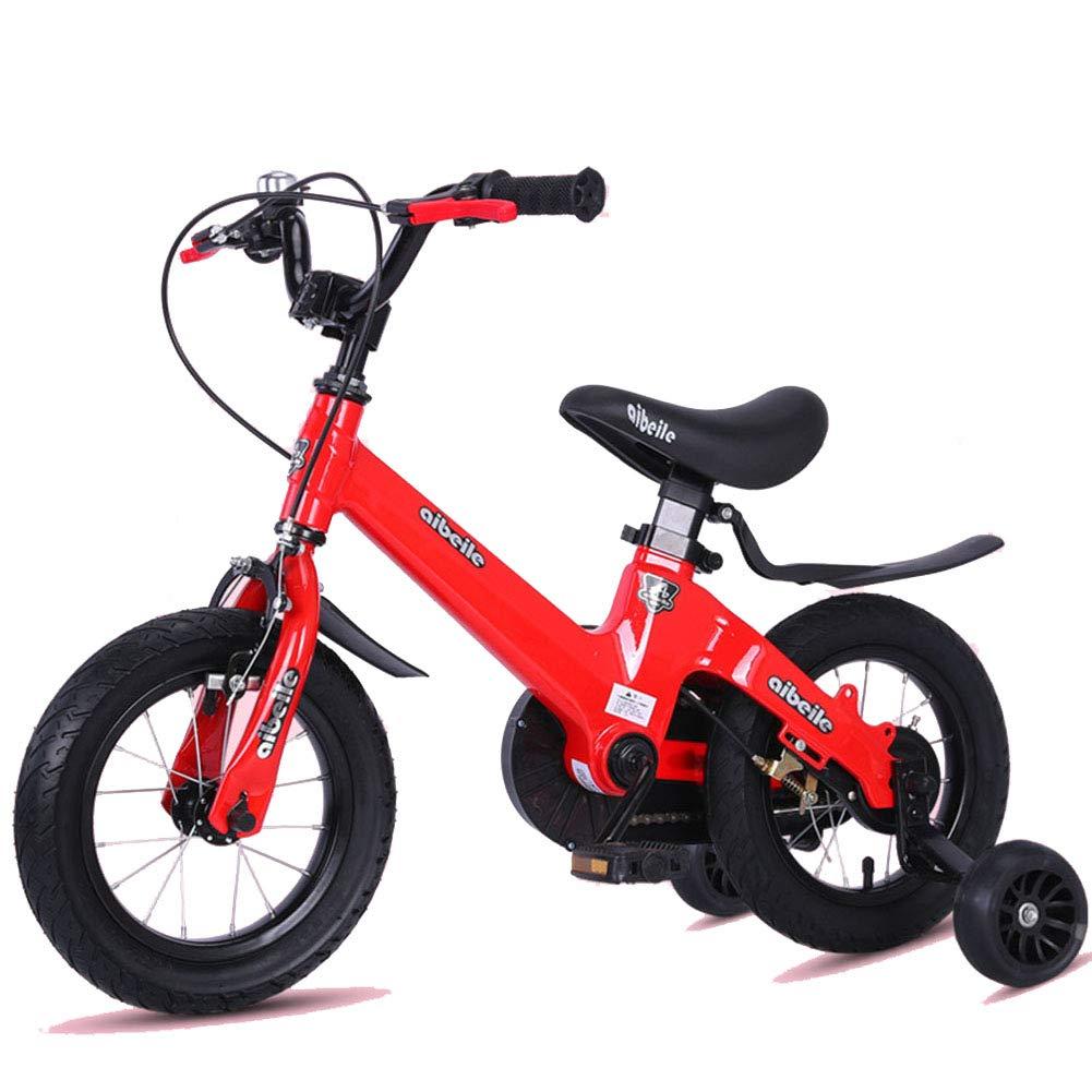 rojo 1-1 Bicicleta para niños Ligero Aleación de magnesio Freno de Disco Doble Absorción de Golpes Altura Ajustable Niño Niña Bicicleta 12IN
