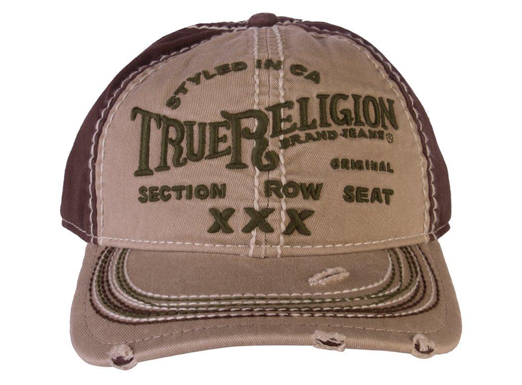 True Religion Men's Printed Black Adjustable Cotton Baseball Hat, LT Khaki (ONE SIZE)