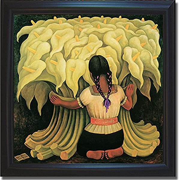 Artistic Home Gallery Girl With Lilies By Diego Rivera Premium Black Framed Canvas Art 30 In X 30 In Framed Size Ready To Hang Posters Prints Amazon Com