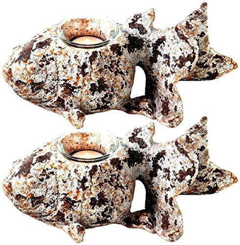 Boston International October Hill Rustic Garden Fish Tealight Candle Holder Ornament Statue, Set of ()