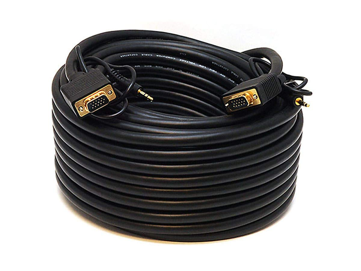 Monoprice 75-Feet VGA/SVGA Male-Male Monitor Cable with Stereo Audio and Triple Shielding by Monoprice