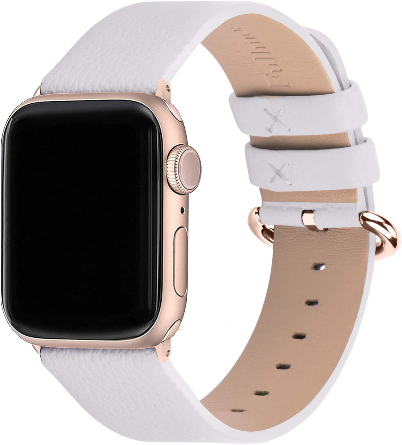 Fullmosa Compatible Apple Watch Band 38mm 40mm 42mm 44mm Leather Compatible iWatch Band/Strap Compatible Apple Watch SE & Series 6 5 4 3 2 1, 42mm 44mm White with Rose Gold Buckle