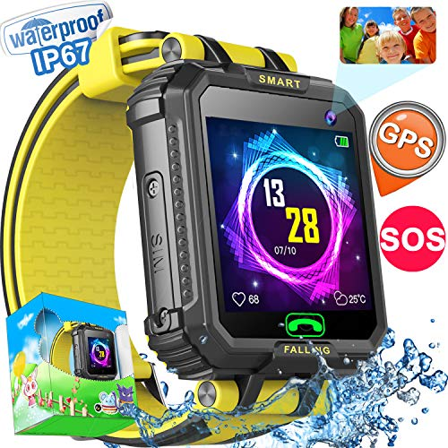 """Kids Smart Watch Phone GPS Tracker Watch for Girls Boys IP67 Waterproof Smartwatch Pedometer Camera SOS Alarm 1.54"""" Touchscreen Game Watch Child Learning Holiday Toys Gift"""