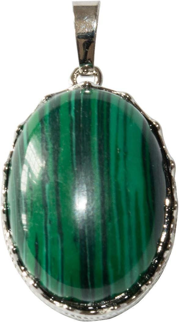 Beads Ok, Colgante Collar de piedras preciosas de Malaquita Natural Abullonada 26mm x 1 Pieza.