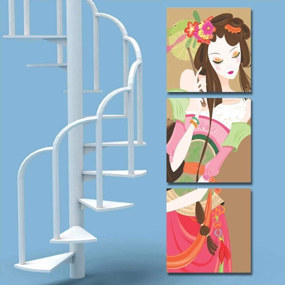 Cuadrado Tradicional Mujer Retrato Lienzo 3 Panel Pintura Hermosa chica para escaleras y corrider Sin marco: Amazon.es: Bricolaje y herramientas