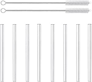 LessMo 8 PCS. Pajitas de Vidrio Pajita Reutilizable con 2 cepillos de Limpieza - Apta para lavavajillas (15cm x ø10mm)
