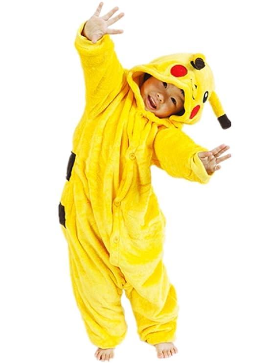 Größe 8-9 Jahre - Pyjama oder Kostüm - Verkleidung - Karneval - Halloween - Pikachu - Pokemon - Gelb - Unisex - Kinder