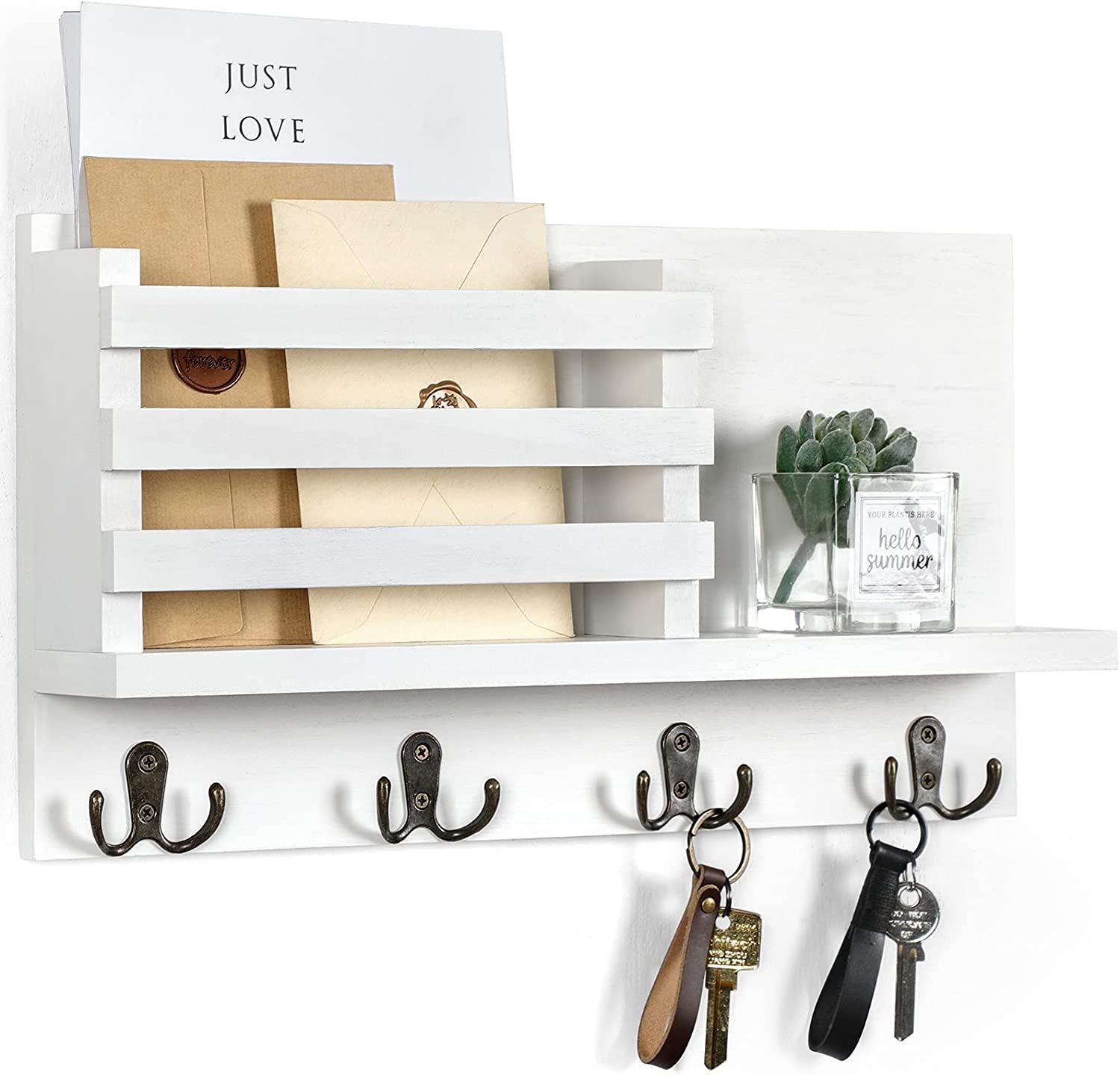 Lwenki Key & Mail Holder for Wall - Rustic Natural Paulownia Wood, 4 Double-Hook Hangers - Wall Mounted Organizer for Decor, Bags, Accessories - Hardware & Manual Included - White