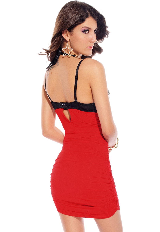 New Ladies Red Rivet Bra Top Club Dress Mini Dress Club Wear Evening Party Summer Dresses Size S 8