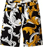 Versace Kids Boys' Macrobarocco Print Shorts with Zipper and Pockets (Big Kids), Black/Gold, XXS 8 X One Size