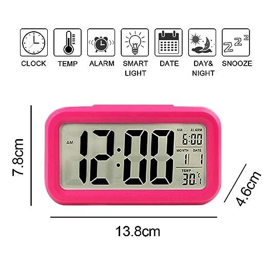 WER Digital alarma reloj fácil a juego y reloj con gran pantalla LCD bajo luz suave luz nocturna Repeating Snooze Mes FECHA y temperatura pantalla: ...