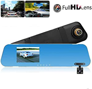 Dash Cams Full HD 1080P for Cars Front and Rear Camera,Dual Dash Cam with Night Vision, 4.3 Inch IPS Screen, 170° Wide Angle, Loop Recording, G-Sensor, Motion Detection, Parking Monitor