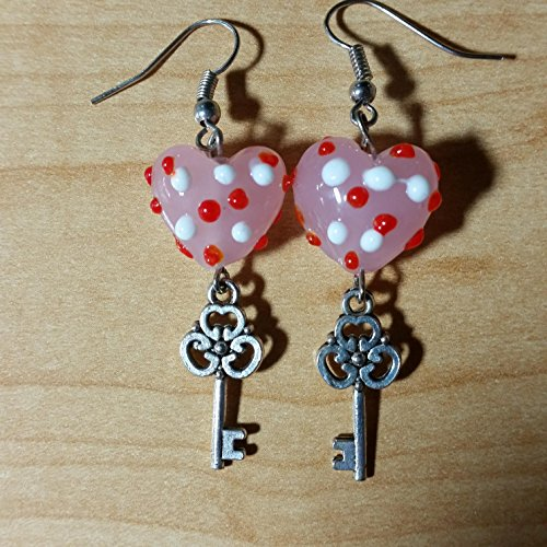 Valentine's Day Earrings - Handmade Beaded Dangle Drop Earrings