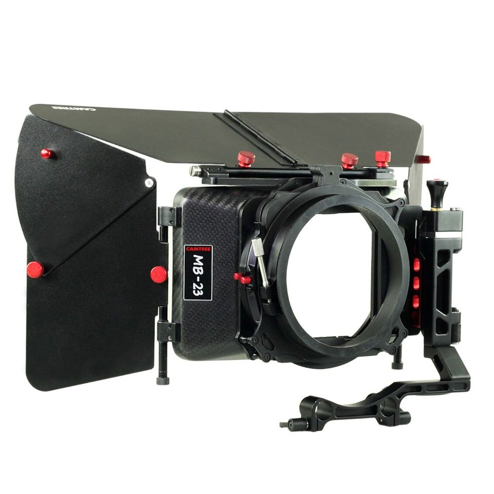 CAMTREE Carbon Fiber Professional Wide Angle Matte Box with Swing Away for 15mm Rod Support for Video DSLR Moving Making Camera Lenses up to 105mm + Hard Case (C-MB-23-CF) by Camtree