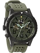 Nixon Green-Tone Dial Stainless Steel Chrono Rubber Quartz Men's Watch A278-1089