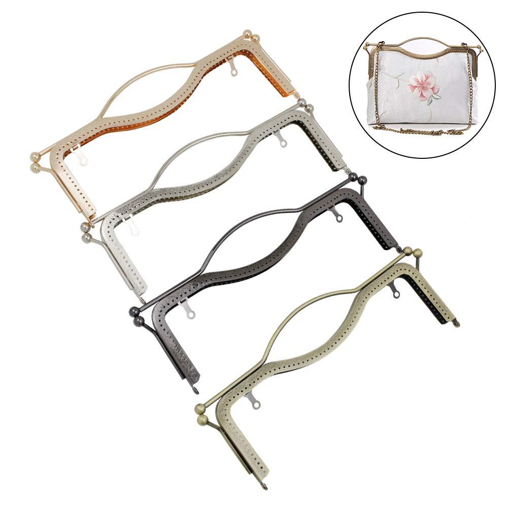 GuoFa 4pcs Purse Frames 10.6'' Kiss Clasp Lock Retro Square Arts Crafts Sewing Frames Purse for Women Girl Bronze Gun Black Light Gold Silver (Multicolor, 10.6) by Guo Fa