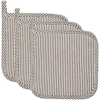 Lifaith 100% Cotton Kitchen Everyday Basic Terry Pot Holder Heat Resistant Coaster Potholder for Cooking and Baking 7 x 7-Inch Set of 3 Gray Stripe