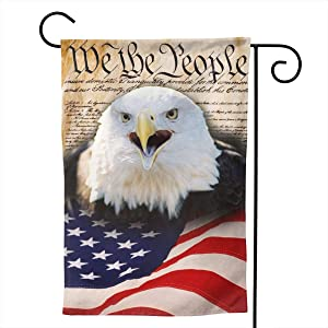 Patriotic American Eagle Garden Flags 12 x 18 Double-sided Welcome Summer Outdoor House Logo Banner Home