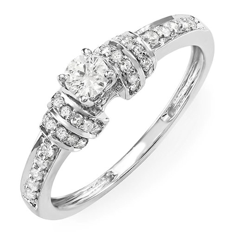 0.45 Carat (ctw) 14k White Gold Round Diamond Ladies Unique Engagement Bridal Promise Ring 1/2 CT