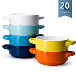 Sweese 108.002 Porcelain Bowls with Handles - 20 Ounce for Soup, Cereal, Stew, Chill, Set of 6, Hot Assorted Colors