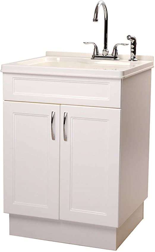 Sink Cabinet Transform Utility Extra Deep Sink With 2 Handle Chrome Faucet And Lateral Sprayer And High Gloss Scratch Resistant Storage Sink Cabinet Integrated Washboard Slow Close Doors Melamine Side Panels Amazon Ca Home