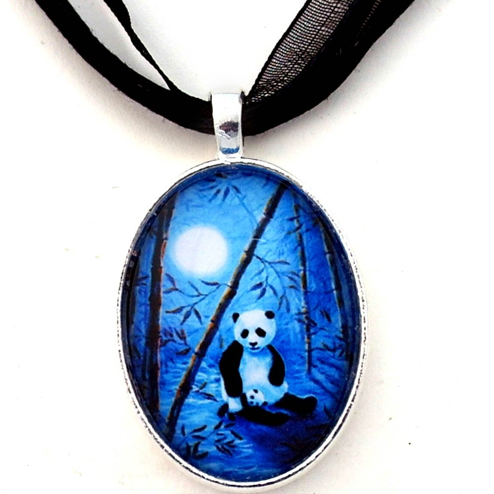 Laura Milnor Iverson Momma and Baby Panda Blue Moon Bamboo Handmade Jewelry Art Pendant