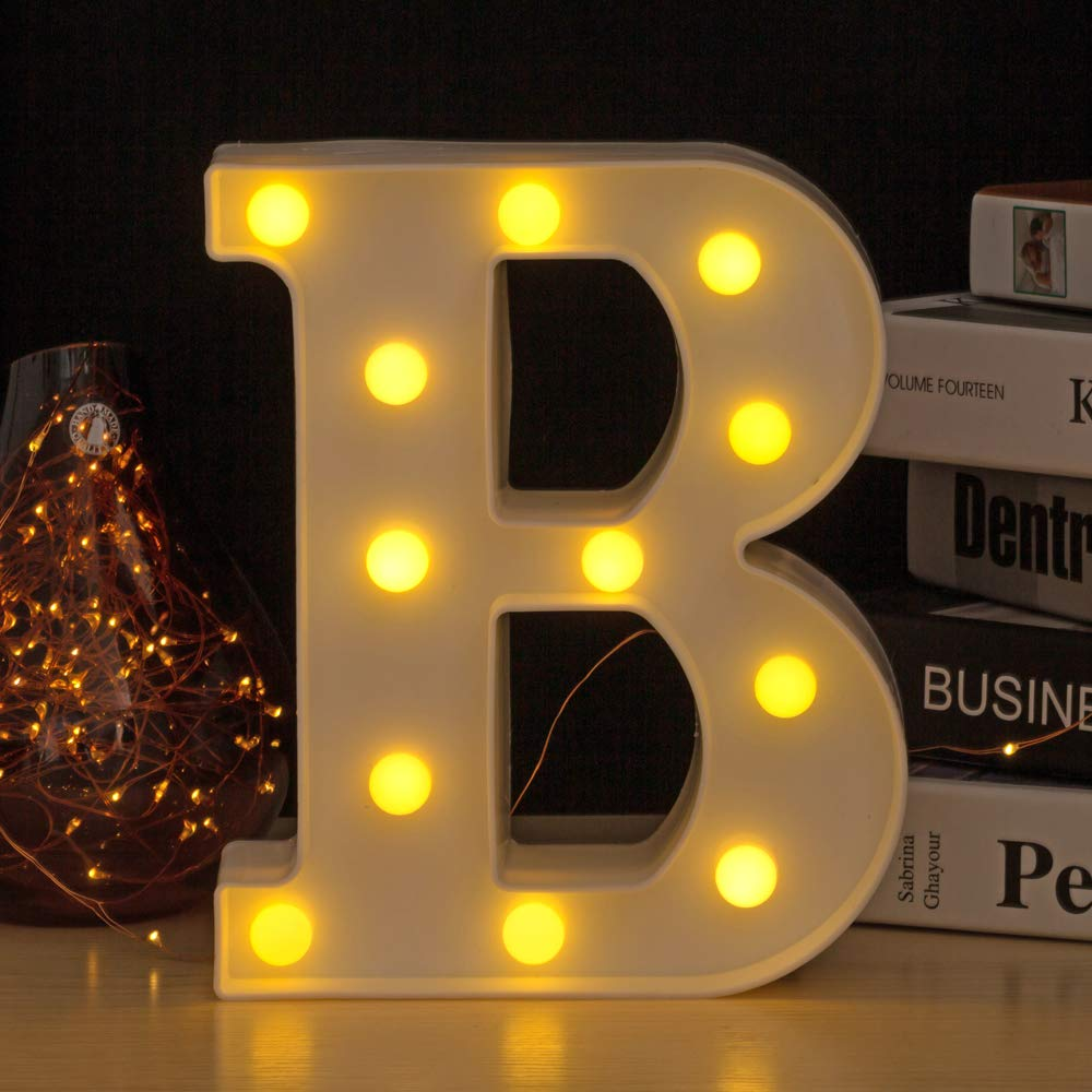 YOUZONE LED Marquee Letters Plastic LED Letter Lights Alphabet Light Up Sign Decoration Letters A - Z Symbol & (B)