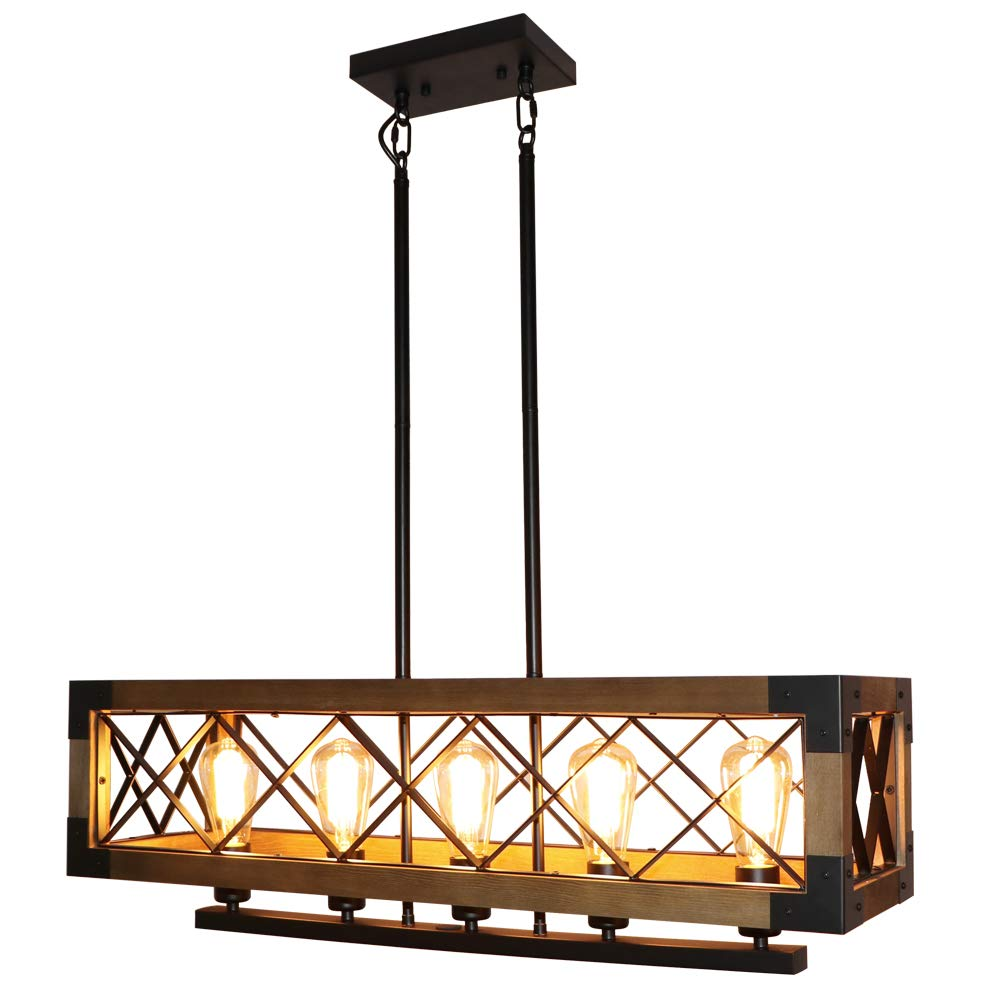 LynPon Farmhouse Kitchen Island Hanging Ceiling Light Fixture 5 Lights Industrial Rustic Wood Rectangular Chandelier Dining Room Hanging Lighting