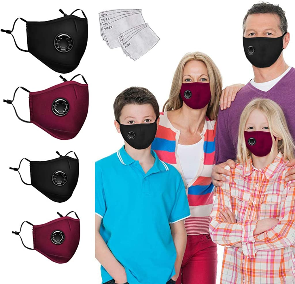 Washable Reusable Mouth Cover Balaclavas with Breathing Valves 4 Pack Family Cover Sets Face Bandanas with 8 Replaceable Filters Protection Health for Adults and Kids