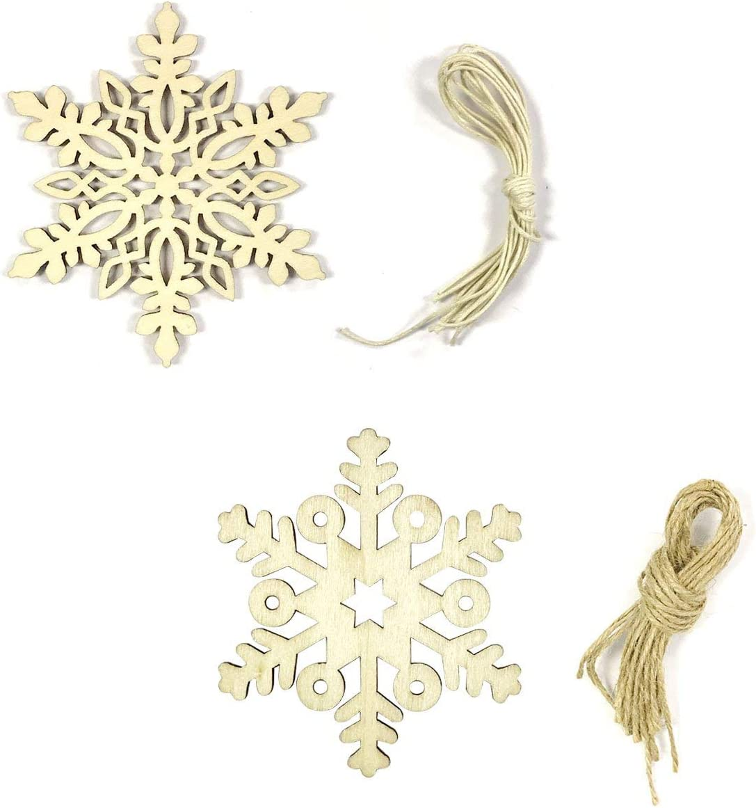Amazon Com Wrapables Wooden Snowflake Hanging Ornament Christmas Décor Set Of 20 Home Kitchen