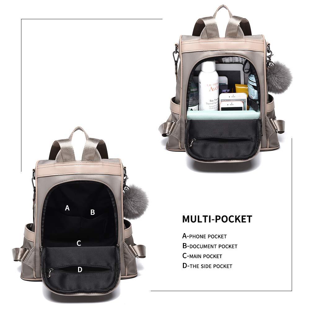 Women Backpack Purse Nylon Anti-theft Fashion Casual Lightweight Travel School Shoulder Bag (Khaki) by Cheruty (Image #4)