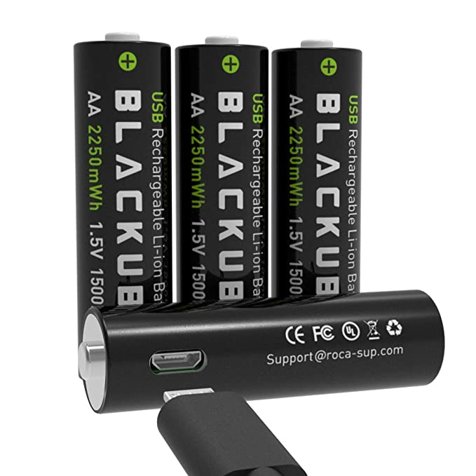 Blackube AA Rechargeable Batteries Lithium 1500mAh Double A Battery with Micro USB Charge - 1.5Hours Charging -1.5V/2250mWh - 4Pack