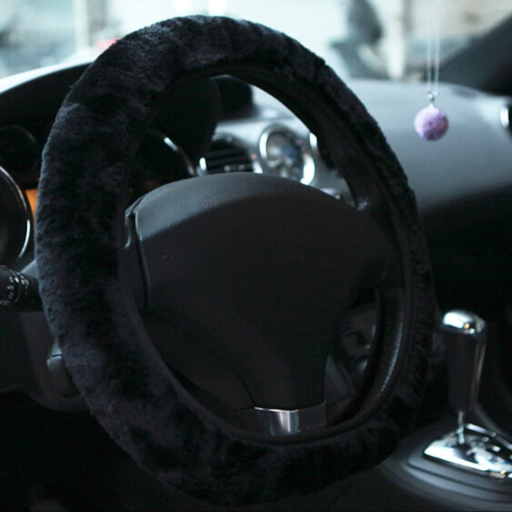Black Sanwood Short Plush Car Steering Wheel Cover Autumn Winter Driving Accessory