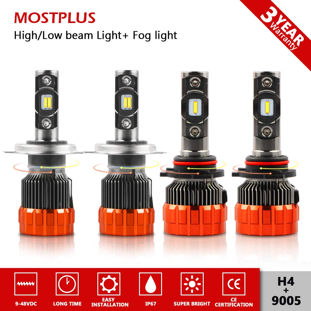 MOSTPLUS 9800 Lumens 98W-H4 9003 All-in-One-LED TX1860 Chip Really Focused Headlight Bulbs Super Mini Conversion Kit Xenon White Three Years Warranty LONGXIN