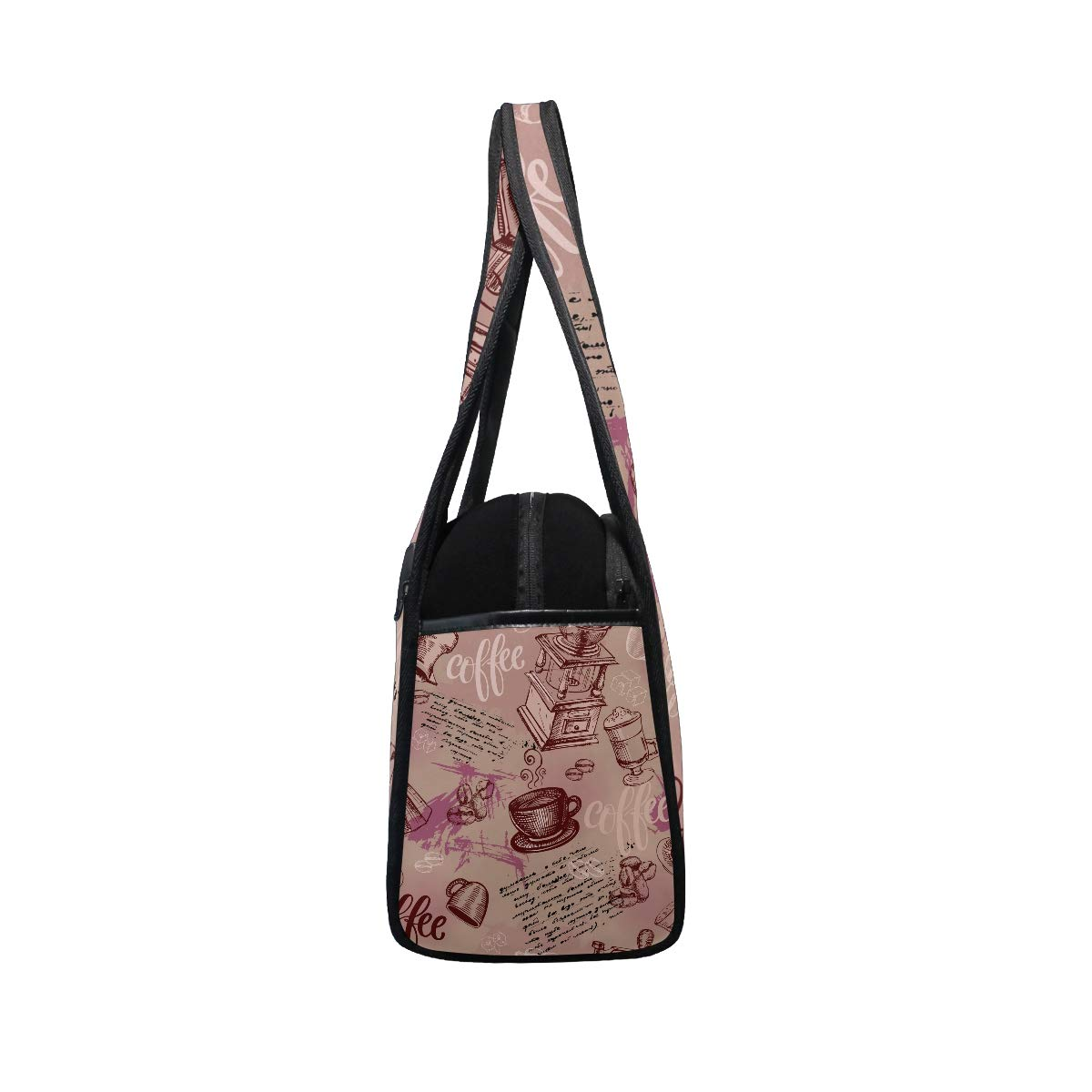 Unisex Travel Duffels Gym Bag Coffee Beans And Cups Pattern Canvas Weekender Bag Shoulder Bag Totes bags