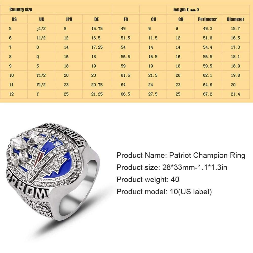 crystal 1st store New England Patriots 6 Years Rings Set Super Bowl 2019-2001 Championship Replica Rings Size 8-14