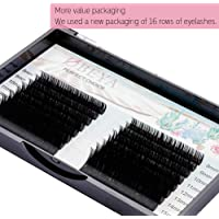 OBEYA Eyelash Extensions 0.10 D Curl Lash Extensions 8-15mm Mixed Tray, 16 Rows Faux Mink Individual Lashes, Eyelash Extension Supplies Semi-Permanent Eyelashes Application for Professional Salon Use