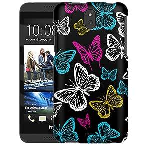 HTC Desire 610 Case, Slim Snap On Cover Vivaciuos Butterflies on Black Case