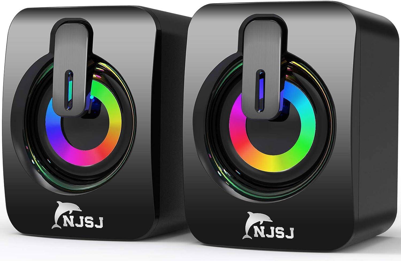 Computer Speakers, NJSJ 2.0 Wired Desktop Speaker,USB Powered,3.5 mm AUX-in, Volume Control,LED Light Mini Gaming Speaker for PC, Laptop, Tablets, Cellphone, MP3